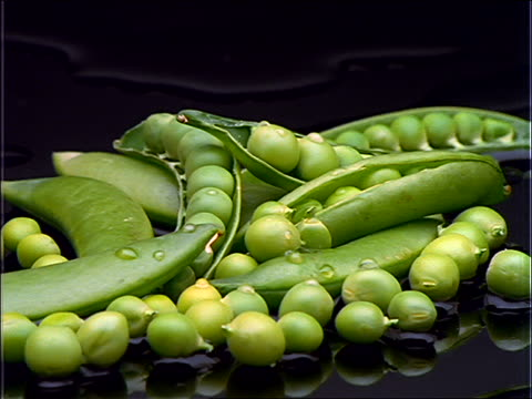 close up zoom out + zoom in of peas + pea pods