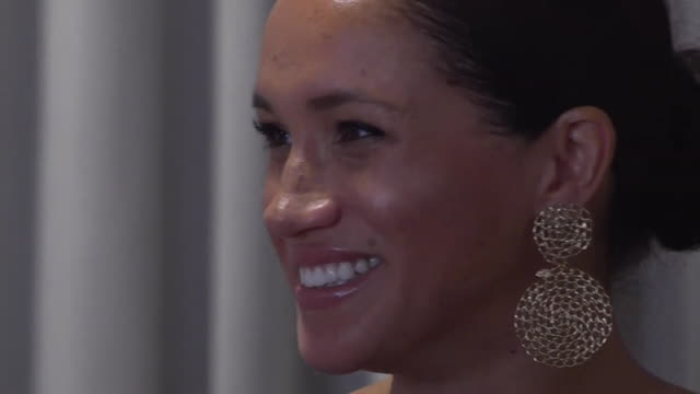 close ups of duchess of sussex smiling and laughing whilst meeting female entrepreneurs at ladies who launch event in cape town during africa tour - happiness stock videos & royalty-free footage