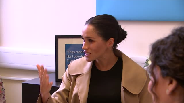 close ups of meghan duchess of sussex as she chats with women at smart works in kensington one of her patronages - only women stock videos & royalty-free footage