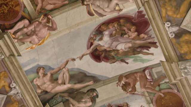 close ups of michaelangelo's artwork on the sistine chapel ceiling - ミケランジェロ点の映像素材/bロール