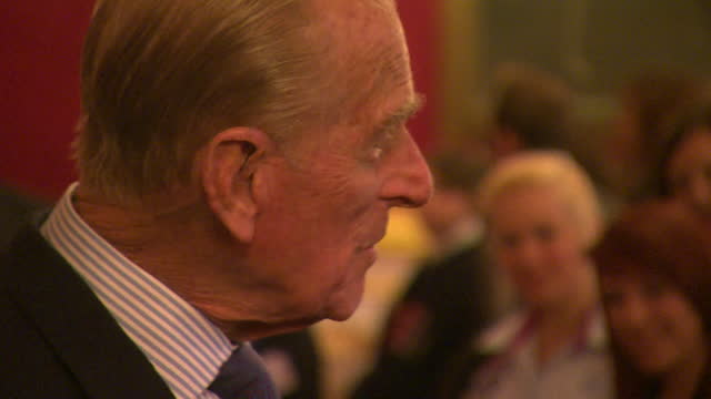 close ups of prince philip smiling and chatting at 500th duke of edinburgh gold award presentation at st james' palace - content stock videos & royalty-free footage