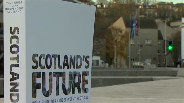 close ups of the snp white paper 'scotland's future' outside scottish parliament - 2014 scottish independence referendum stock videos & royalty-free footage