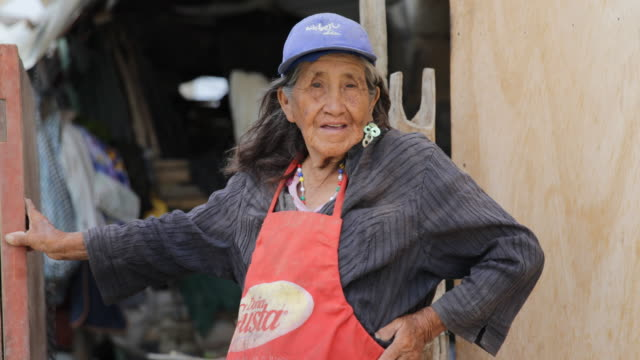 close view of a woman who is proudly standing in front of a wooden hut. she is wearing a blue baseball cap and a skirt over her dress in a slum in... - baseball cap stock videos & royalty-free footage