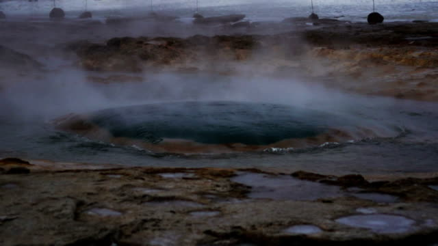 Close view of Geysir erupting in Slow motion