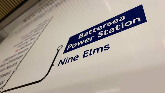 close view of the new additions to the london underground map at battersea power station on september 20, 2021 in london, england. the extension... - map stock videos & royalty-free footage