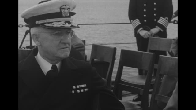 close view of us navy captain john beardall naval aide to president franklin roosevelt on left sitting with us general edwin watson aide and... - british military stock videos & royalty-free footage