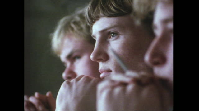 close views of teenage boys listening during a lesson at school, uk; 1988. - concentration stock videos & royalty-free footage