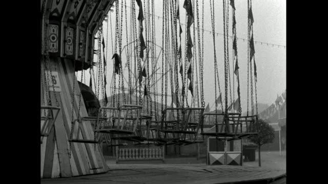 closed amusement park rides as battersea park fun fair closes; 1953 - 1953 stock videos & royalty-free footage
