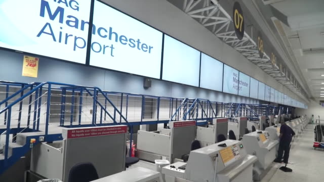 closed and empty thomas cook check in desks at manchester airport as the travel company goes into administration - indoors stock videos & royalty-free footage