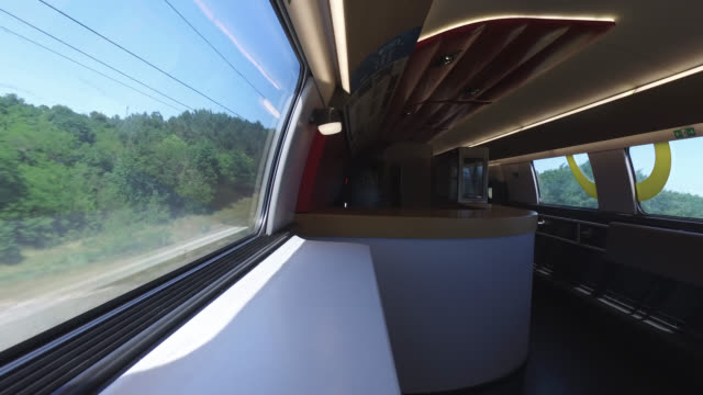 closed bar car tgv from paris to toulouse france has started a progressive relaxation of its foreclosure measures and restrictions in the context of... - tgv stock videos & royalty-free footage