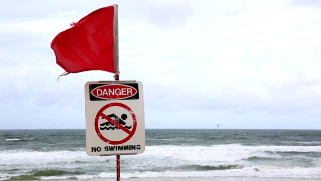 Closed Beach Sign On A Dangerous Beach, Australia