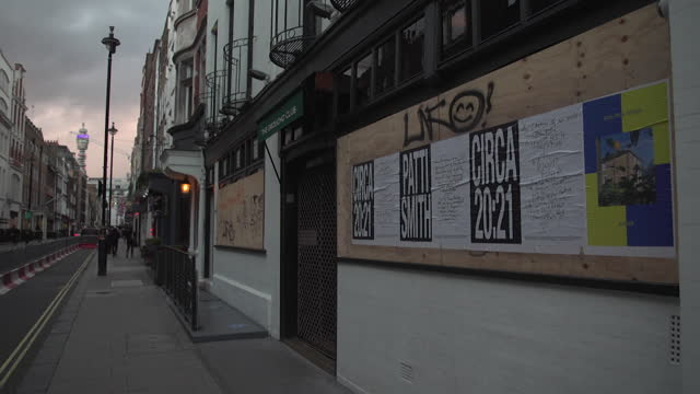 closed businesses in soho, london, during third coronavirus lockdown, including groucho club and ronnie scott's - lockdown stock videos & royalty-free footage