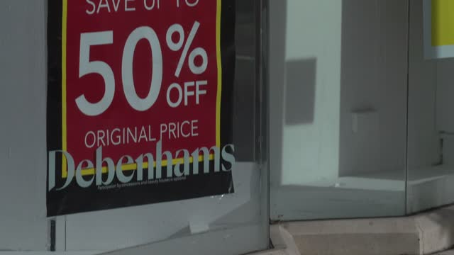 closed down debenhams store, with closing down sale signs in the the windows in the a town centre on february 23, 2021 in luton, england. the ons... - high street stock videos & royalty-free footage