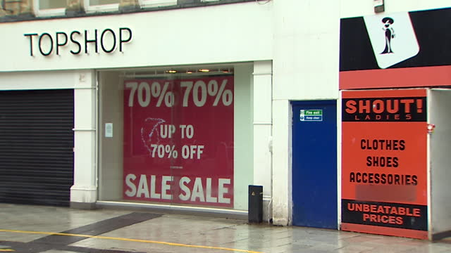 closed down topshop and topman stores after arcadia went into administration, the brand, but not the shops, has been bought by asos - consumerism stock videos & royalty-free footage