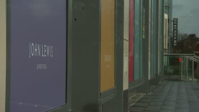 closed high street shops in newbury; england: berkshire: newbury: ext few people along / general views of closed down john lewis & partners store - newbury england stock videos & royalty-free footage