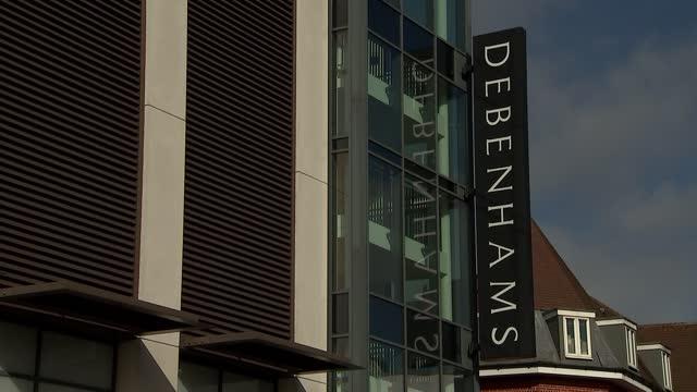 closed high street shops in newbury; england: berkshire: newbury: ext general views of closed debenhams store / signs 'everything must go - store... - newbury england stock videos & royalty-free footage