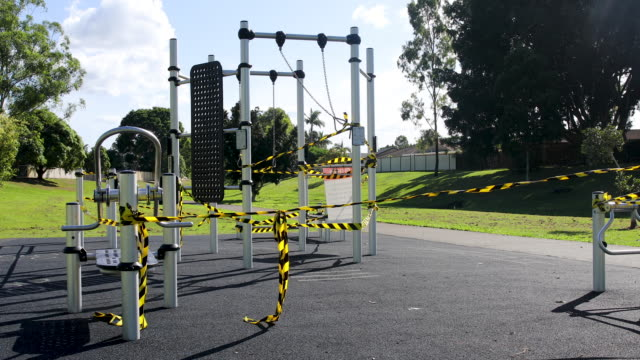 closed playground during covid-19 shut down - empty stock videos & royalty-free footage