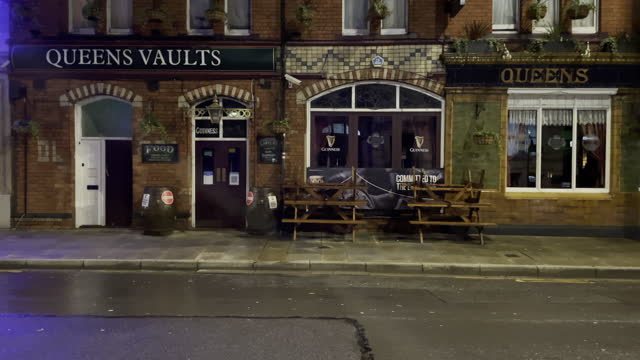 """closed queens vaults pub on westgate street in cardiff city centre on the first saturday night of the """"firebreak"""" which is aimed at reducing the... - wales stock videos & royalty-free footage"""