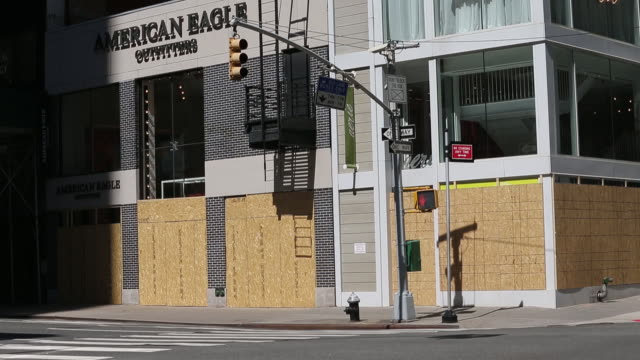 closed retail businesses in manhattan new york city ny us on monday june 8 2020 many stores around new york have been boarded up based the on... - american eagle outfitters stock videos & royalty-free footage
