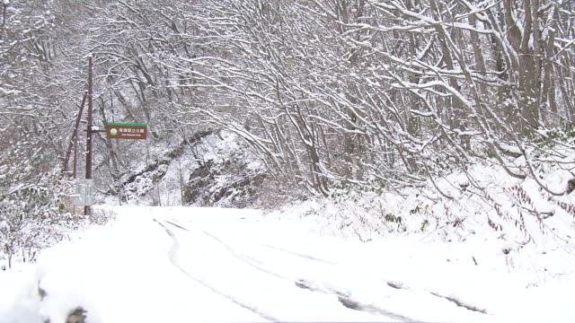 closed sign and mountain road in snow, fukushima, japan - road closed sign stock videos & royalty-free footage