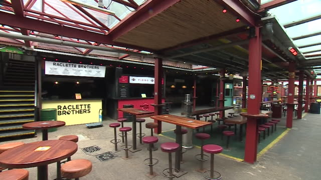 closed street feast restaurant and social area in east london, closed due to coronavirus lockdown - cafe stock videos & royalty-free footage
