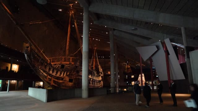 closed to prevent the spread of the novel coronavirus, staff members at stockholm's vasa museum offer a daily guided online tour of a swedish warship... - warship stock videos & royalty-free footage