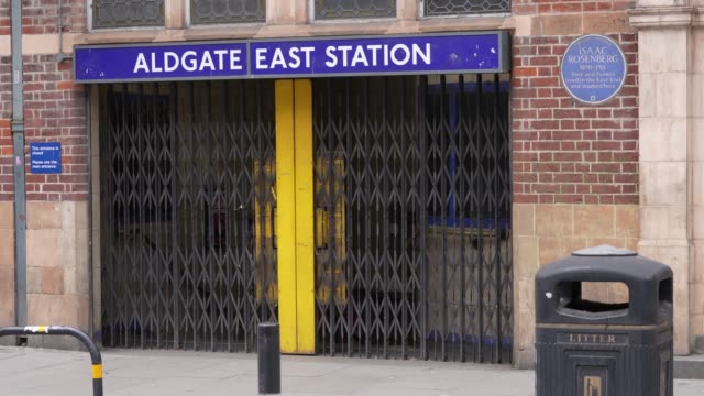 a closed transport for london underground exit at algate east in east london as the prime minister announced the general contours of a phased exit... - pavement stock videos & royalty-free footage