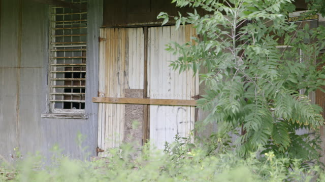vidéos et rushes de ms closed wooden door of abandoned shack / bell buckle, tennessee, united states - cahute