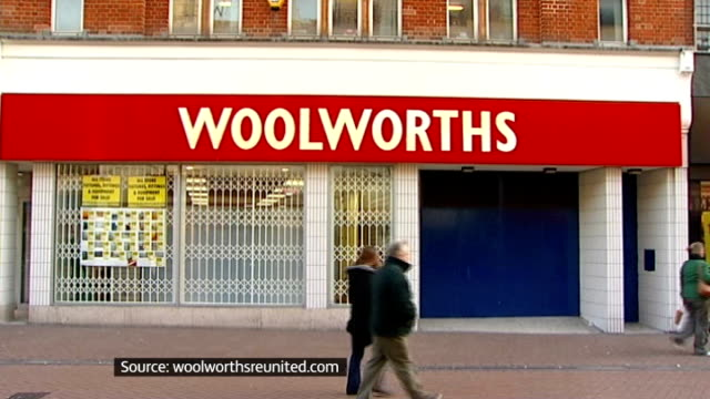 vídeos de stock, filmes e b-roll de closed woolworths store with graphic overlaid - woolworths