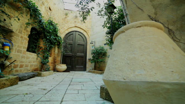closed yard in old city - jaffa stock videos & royalty-free footage