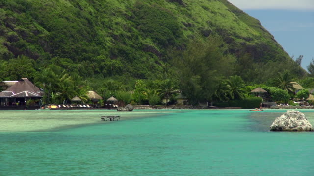 Closer View of Moorea with Tourist Paddle Boarding