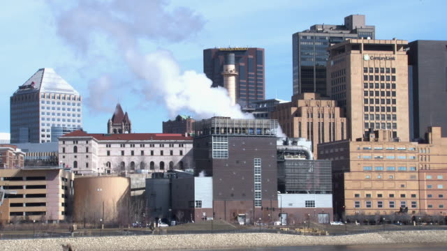 A closer view of the skyline of St. Paul Minnesota as seen from across the Mississippi River
