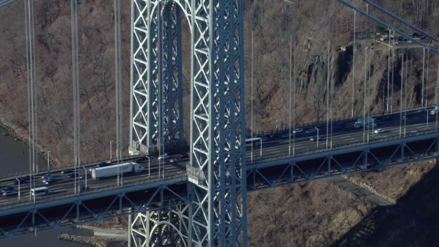 Close-shot of the George Washington Bridge's western tower. The bridge crosses the Hudson River between Fort Lee, New Jersey and Upper Manhattan in New York.