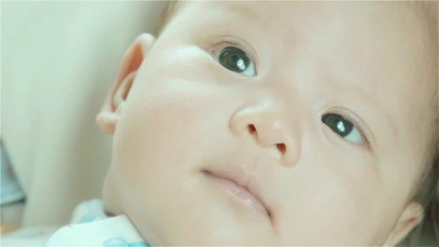 クローズアップ魅力的な美しい新生児囲まれた、妊婦の手 - ユーラシアエスニシティ点の映像素材/bロール