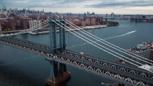 Closeup Aerial shot of New York City's Manhattan Bridge on a cloudy Autumn morning.