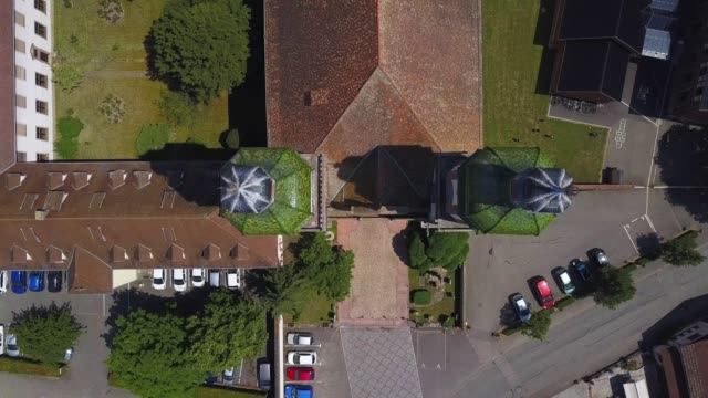 close-up aerial view from drone to the domes and crosses on the top of the church towers. - religious cross stock videos & royalty-free footage