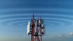 Closeup aerial view of the cellular telecom tower