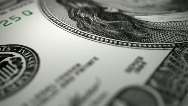 close-up animation of 100 dollars bill - depth marker stock videos & royalty-free footage