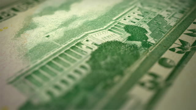 Close-up Animation Of New 50 Dollars Bill Back Side