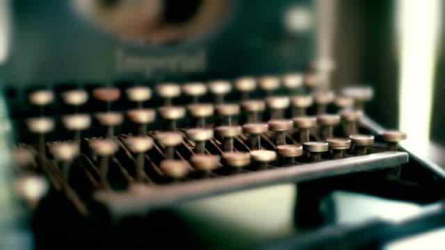 close-up antique typewriter keyboard. - typewriter keyboard stock videos & royalty-free footage