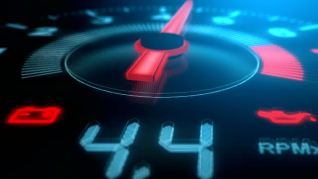 close-up arrow speedometer of sports car seamless loop - stock video - meter instrument of measurement stock videos & royalty-free footage