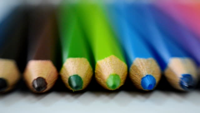 close-up at colored pencils - extreme close up stock videos & royalty-free footage