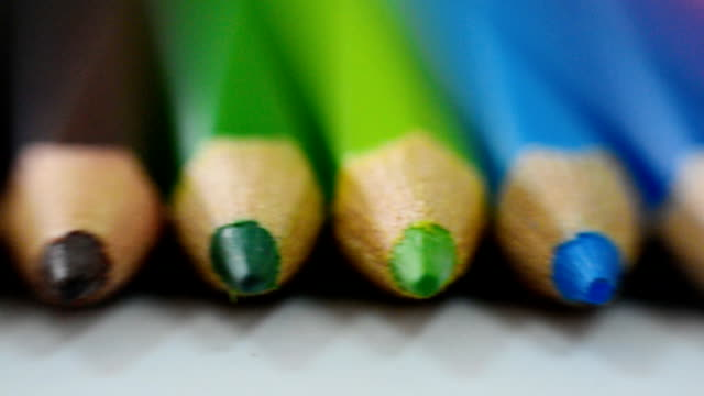 close-up at colored pencils - pencil stock videos & royalty-free footage