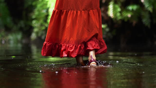 赤いドレスを持つ女性観光客の脚でクローズアップ熱帯林での冒険。 - 赤のドレス点の映像素材/bロール