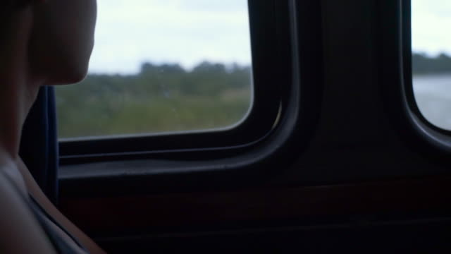 close-up: beautiful young woman looking through bus window while crossing a river - mittelamerika stock-videos und b-roll-filmmaterial