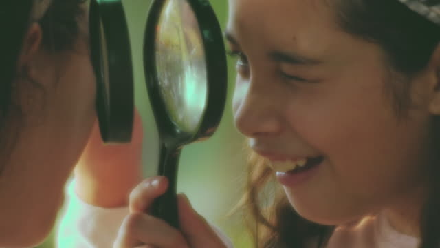 close-up beauty girl using magnifying - summer camp helper stock videos & royalty-free footage