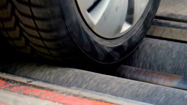 closeup brake testing of a car - brake stock videos & royalty-free footage