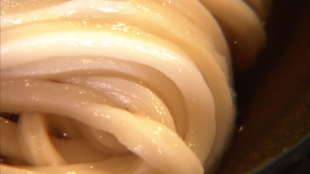 closeup; bukkake udon, wheat noodle with seasoning soy sauce - 麺点の映像素材/bロール