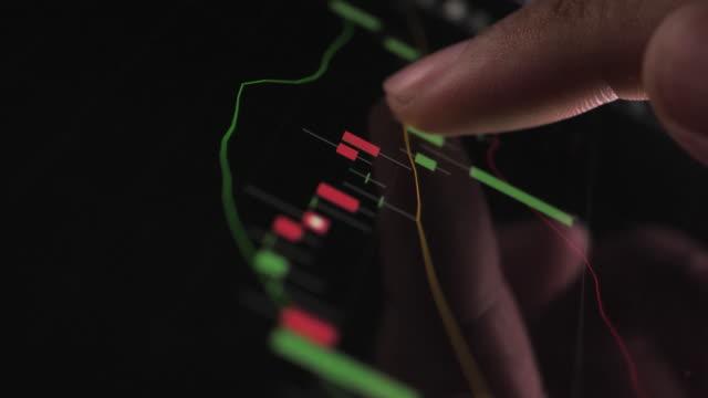 stockvideo's en b-roll-footage met close-up zakenman vinger werken met stock market data grafiek op een digitale tablet en computer - graph