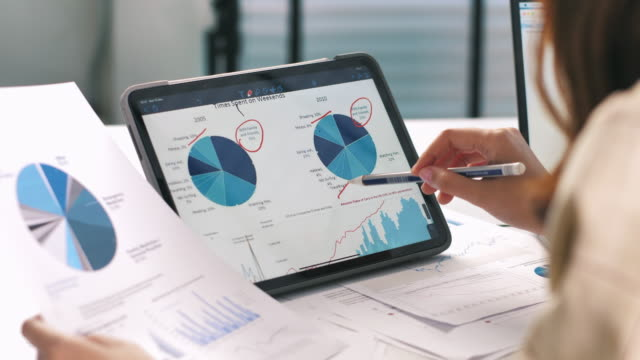 vídeos y material grabado en eventos de stock de empresaria de primer plano utilizando la tableta digital que analiza los analistas de business data financial ve gráficos y gráficos en tabletas digitales - examen